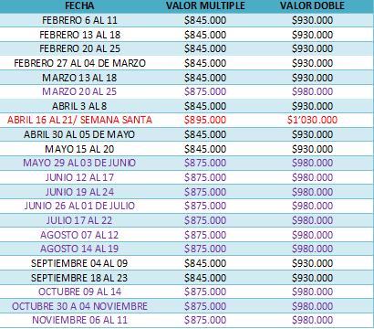 tarifas sur de colombia